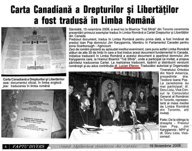 Newspaper article - Canadian Charter in Romanian